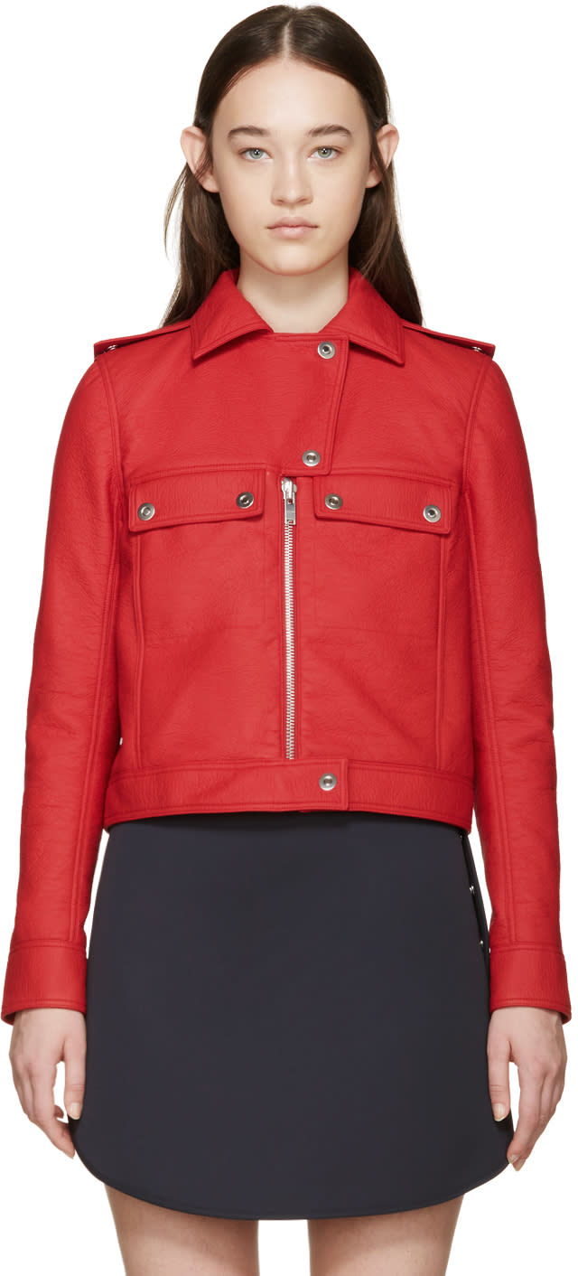Courreges Red Faux-leather Jacket