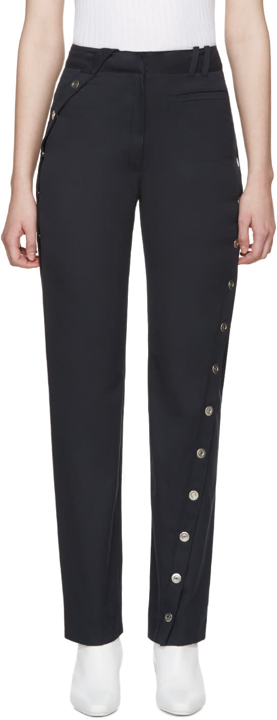 Courreges Navy Twisted Button Trousers