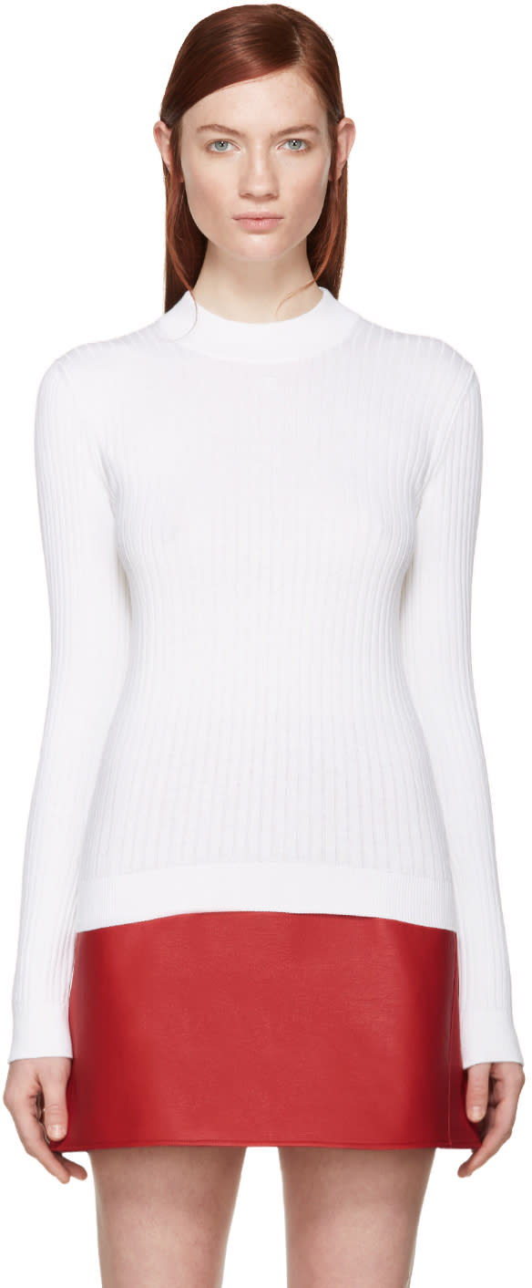 Courreges White Rib Knit Mock Neck Sweater