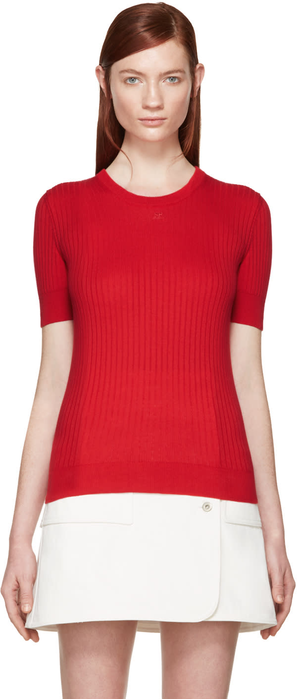 Courreges Red Rib Knit Sweater