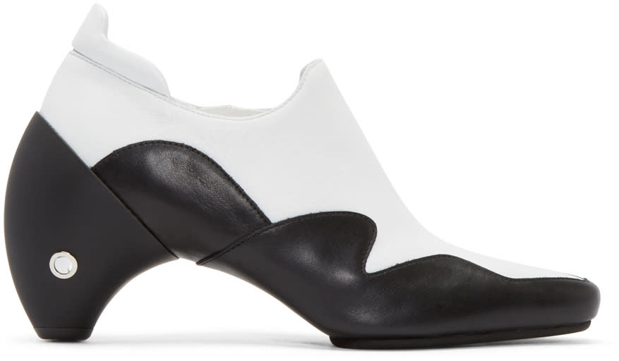 Courreges White and Black Leather Gogo Boots
