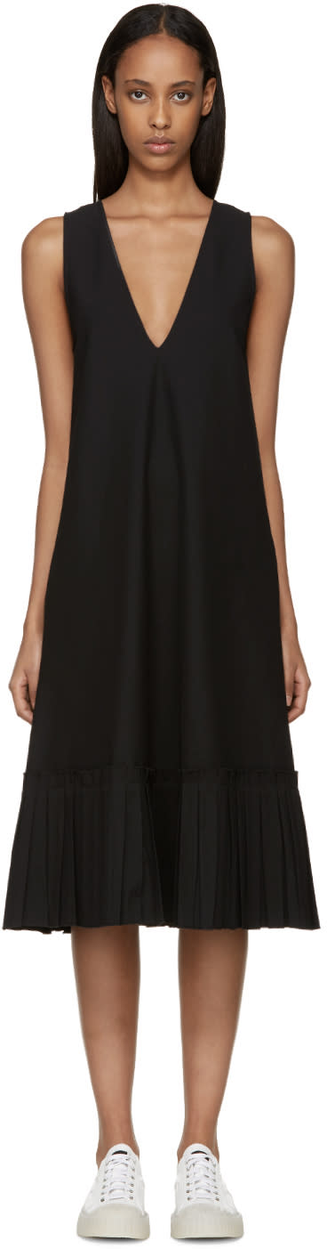 Sara Lanzi Black Piqué Sleeveless Dress