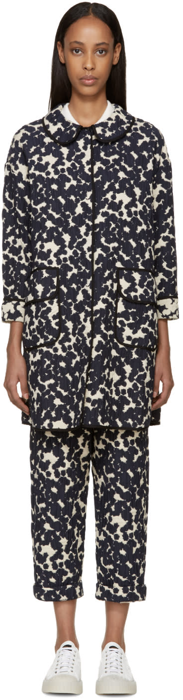 Sara Lanzi Navy and Off-white Textured Jacquard Coat