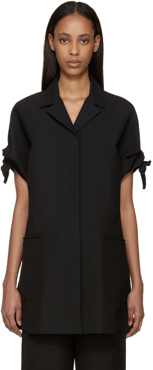 Sara Lanzi Black Piqué Coat