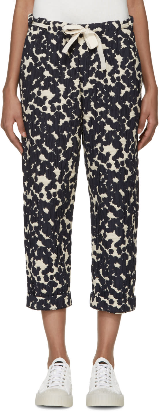 Sara Lanzi Off-white and Navy Textured Jacquard Trousers