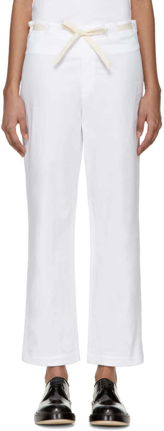 Sara Lanzi White Drawstring Trousers