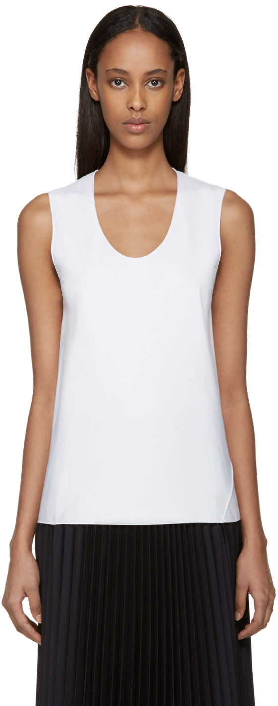 Sara Lanzi White Bias-cut Tank Top