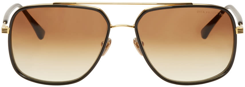 Dita Black and 18k Gold Avocet Two Aviator Sunglasses