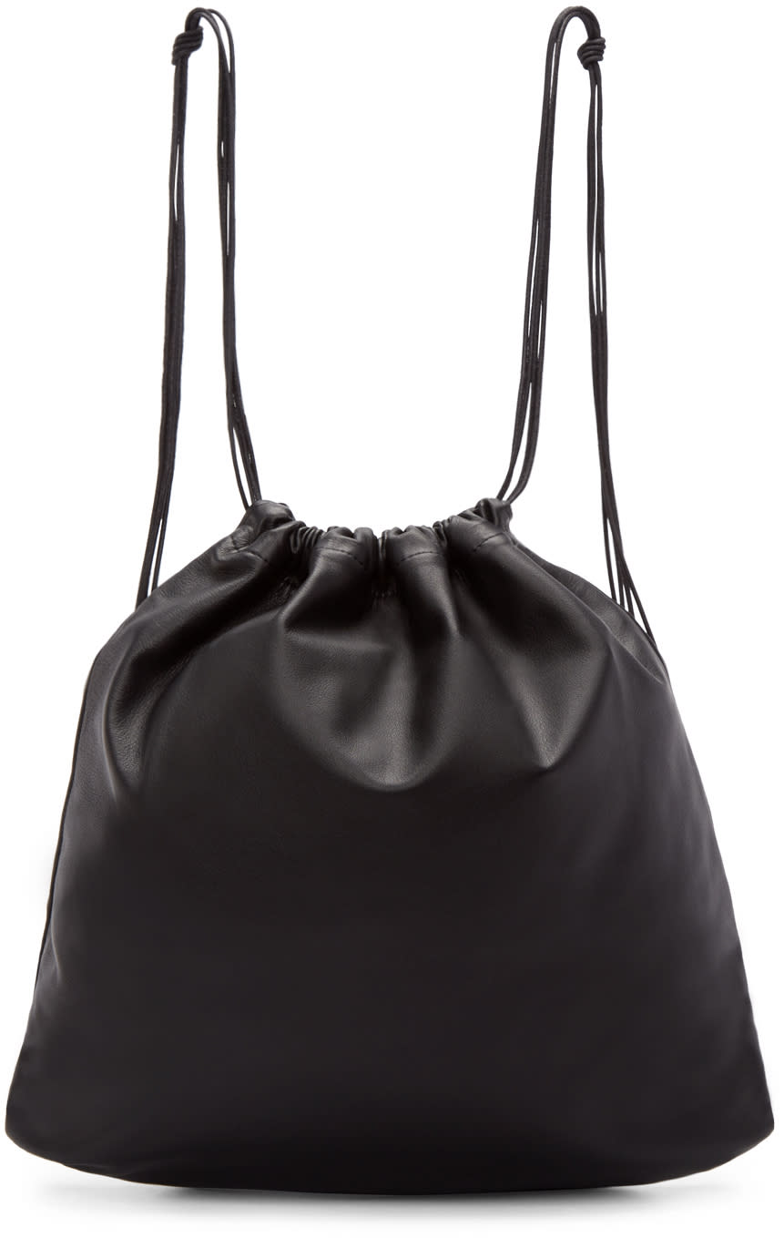Tsatsas Black Leather Drawstring Xela Backpack