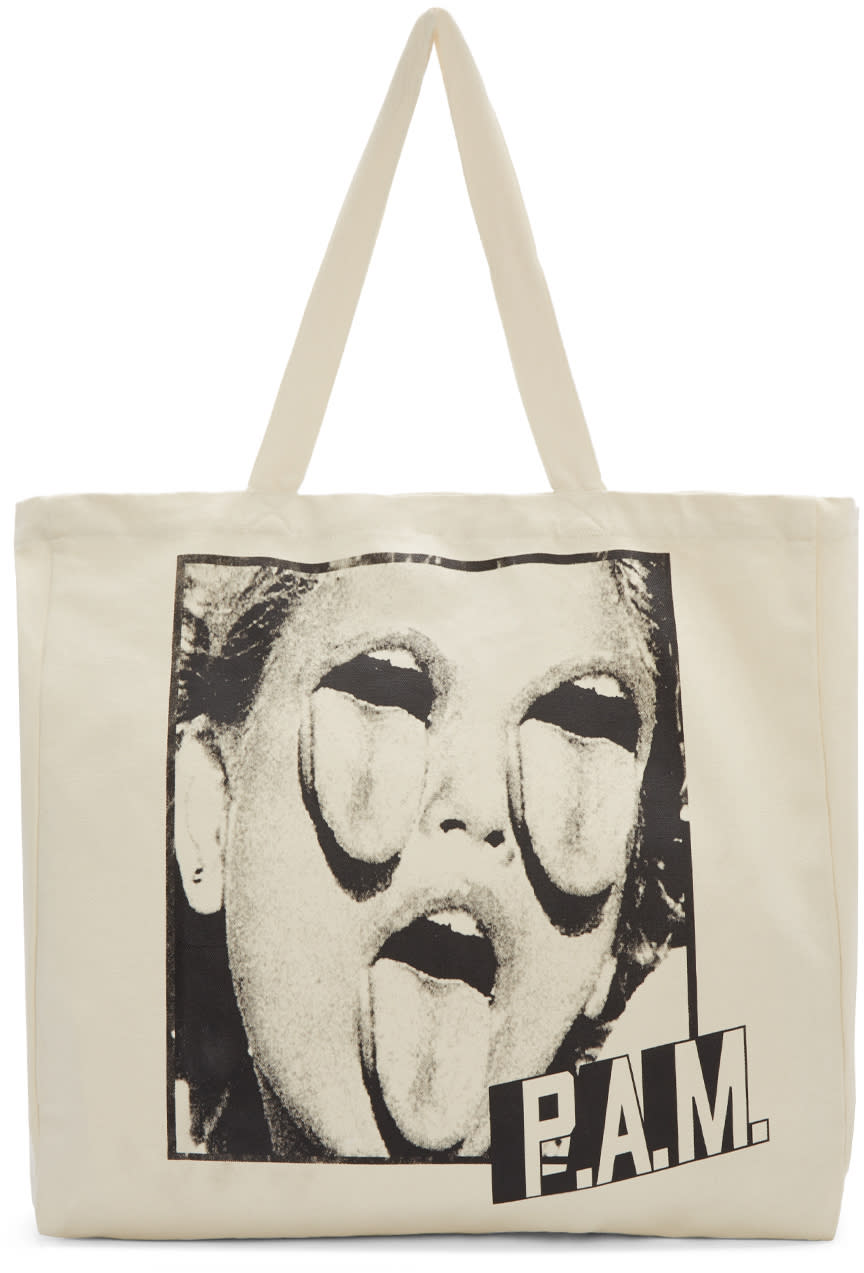 Perks And Mini Ivory Triple Threat Canvas Tote Bag