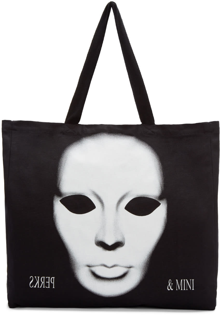 Perks And Mini Black Canvas Phantom Tote Bag