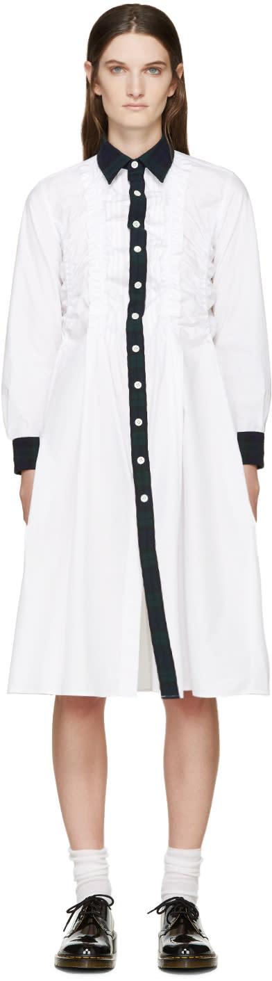 Tricot Comme Des Garçons White Ruffled Contrast Shirt Dress