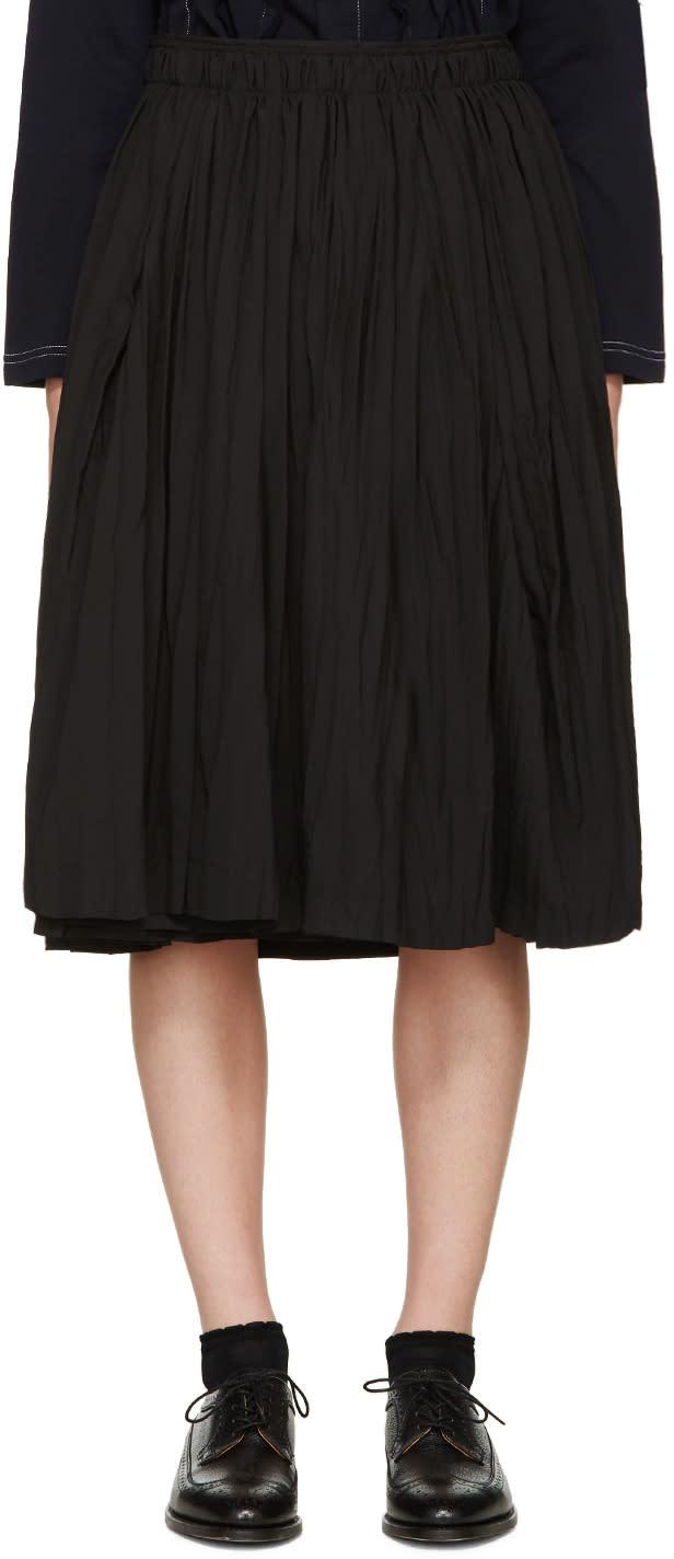 Tricot Comme Des Garçons Black Pleated Wrap-effect Skirt