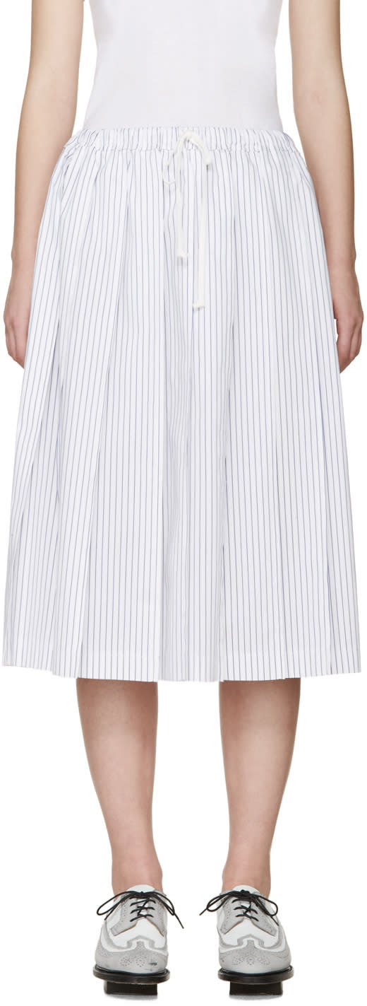Tricot Comme Des Garçons White and Blue Pleated Skirt