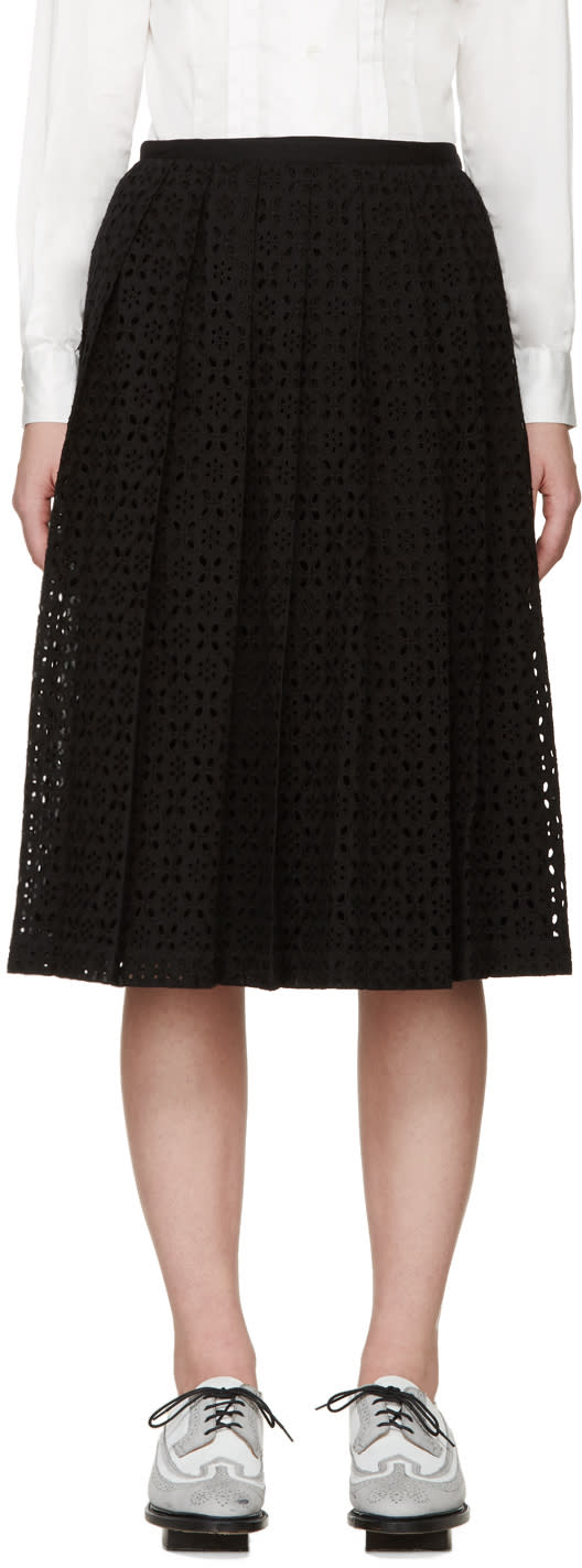 Tricot Comme Des Garçons Black Pleated Broderie Anglaise Skirt
