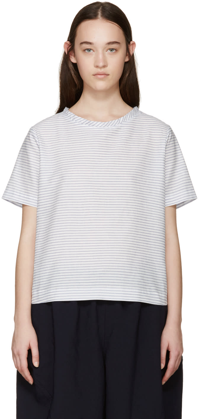 Tricot Comme Des Garçons White and Blue Striped Top