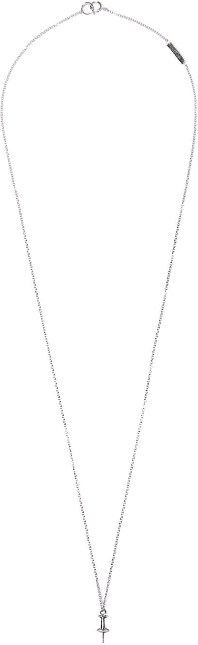 Lauren Klassen White Gold Tiny Pushpin Necklace