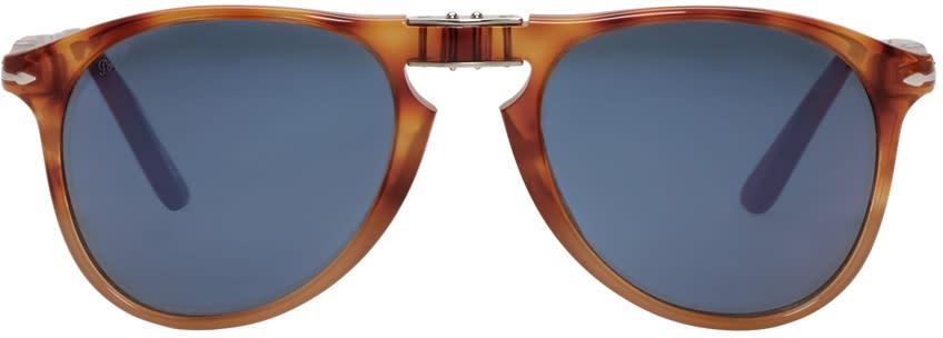 Image of Persol Tortoiseshell Folding Pilot Sunglasses