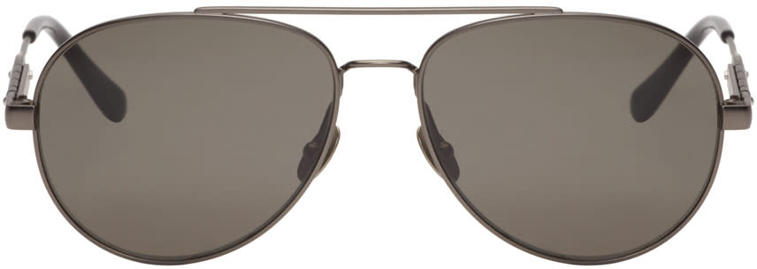 Bottega Veneta Gunmetal Metal-frame Aviator Sunglasses
