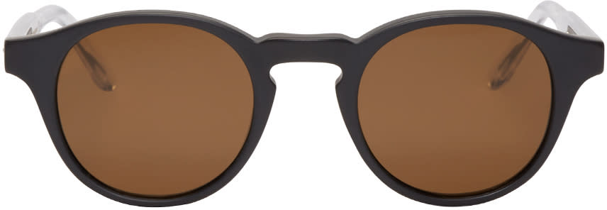 Bottega Veneta Black Acetate Round Sunglasses