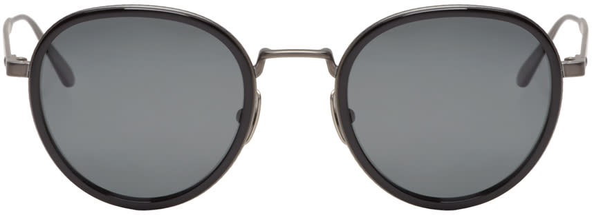 Bottega Veneta Black Round Retro Sunglasses