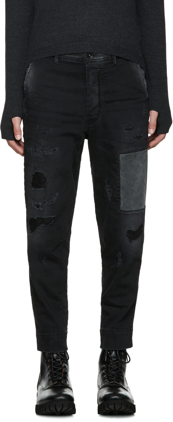 Diesel Black Patchwork Carrot-chino Jeans