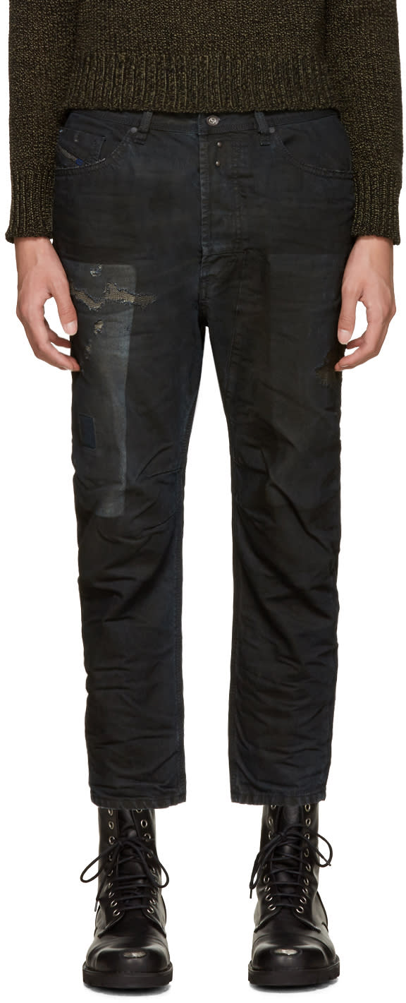 Diesel Black Coated Narrot Jeans