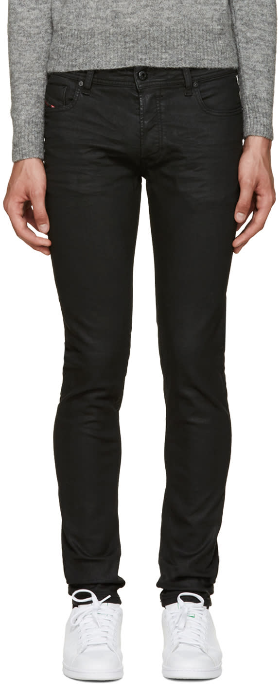 Diesel Black Coated Sleenker Jeans