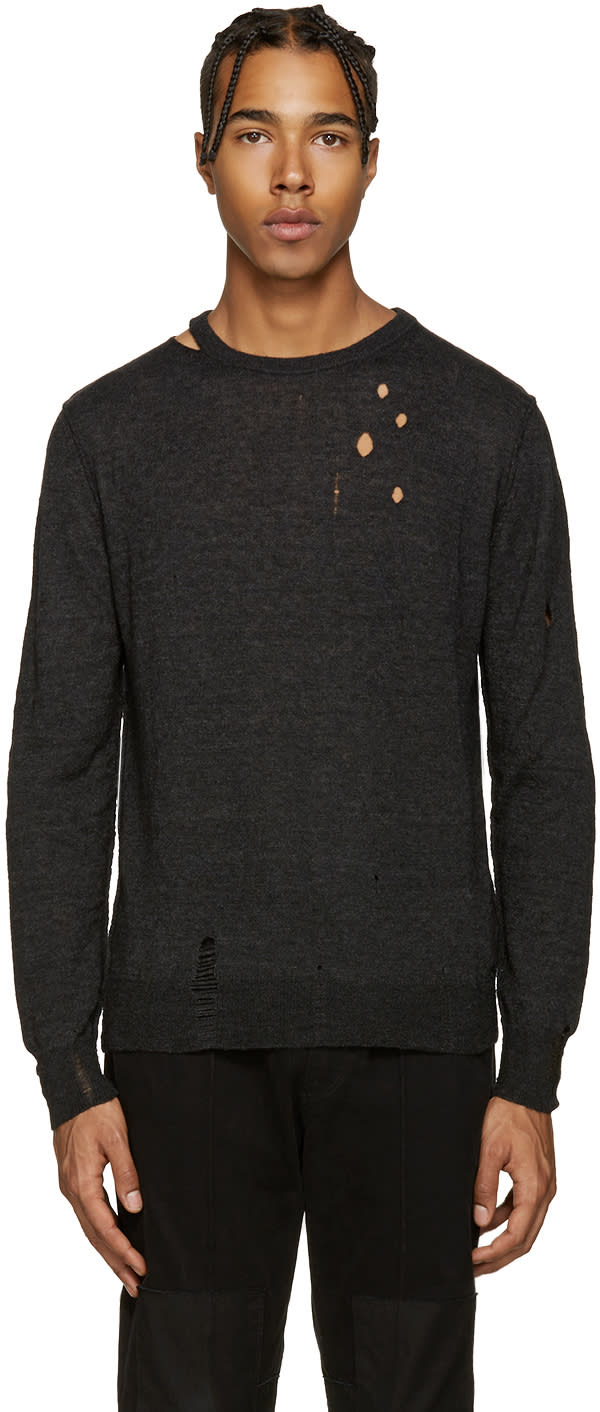 Diesel Black Distressed K-ideo Sweater