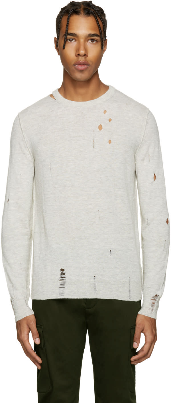 Diesel Grey Distressed K-ideo Sweater