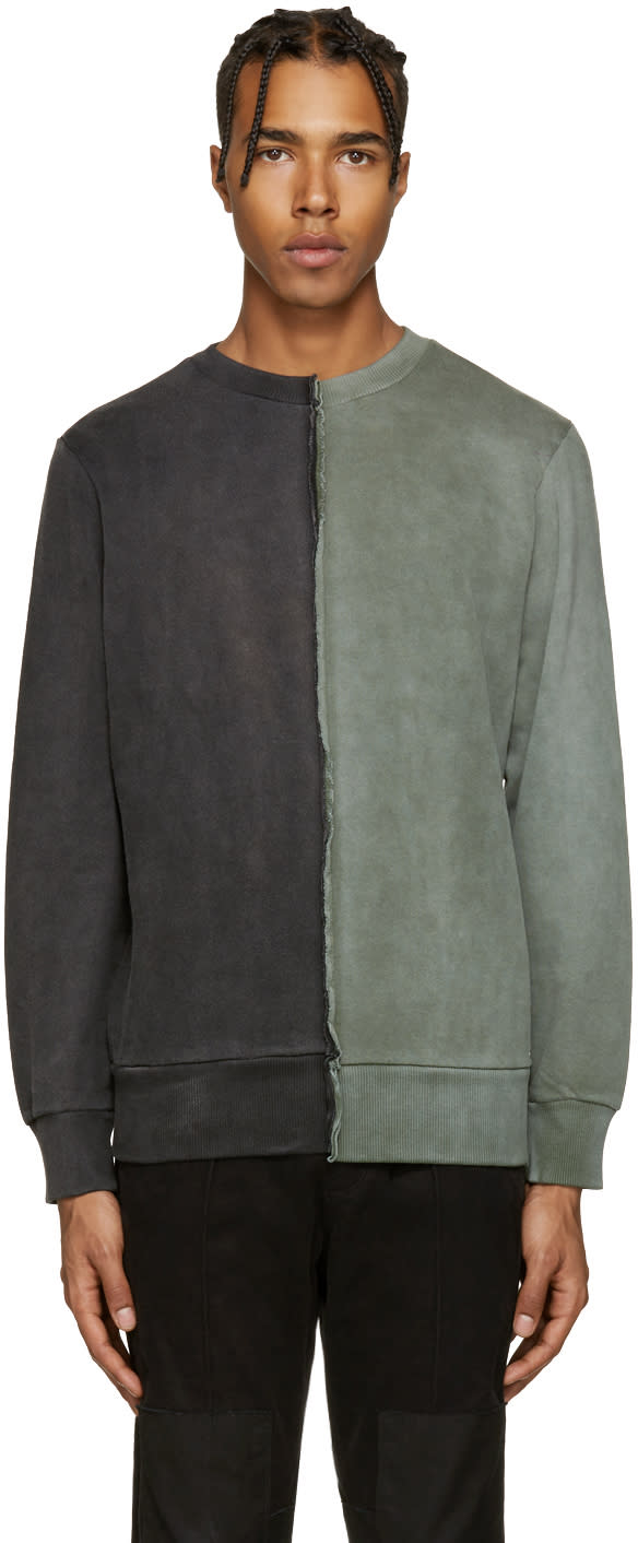 Diesel Black and Green S-double Sweatshirt