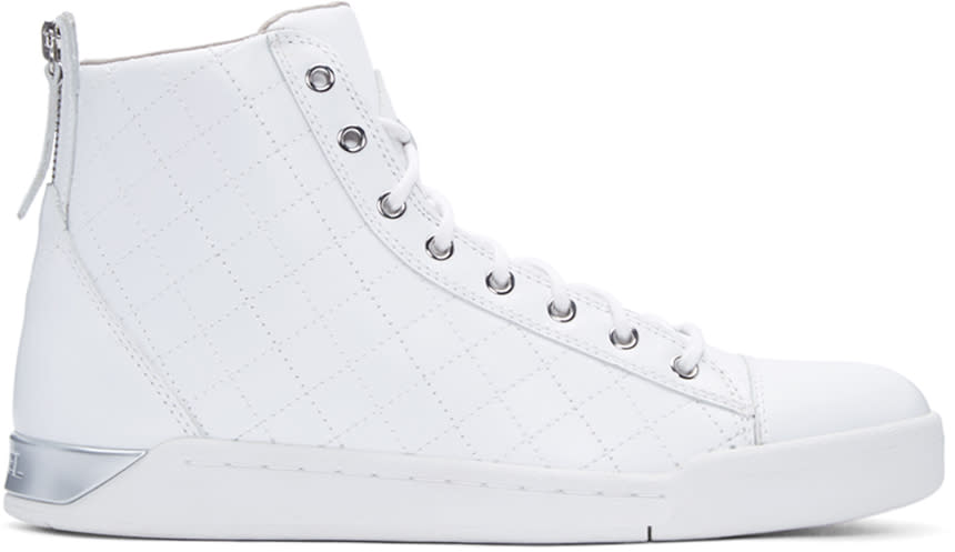 Diesel White Quilted Diamond High-top Sneakers