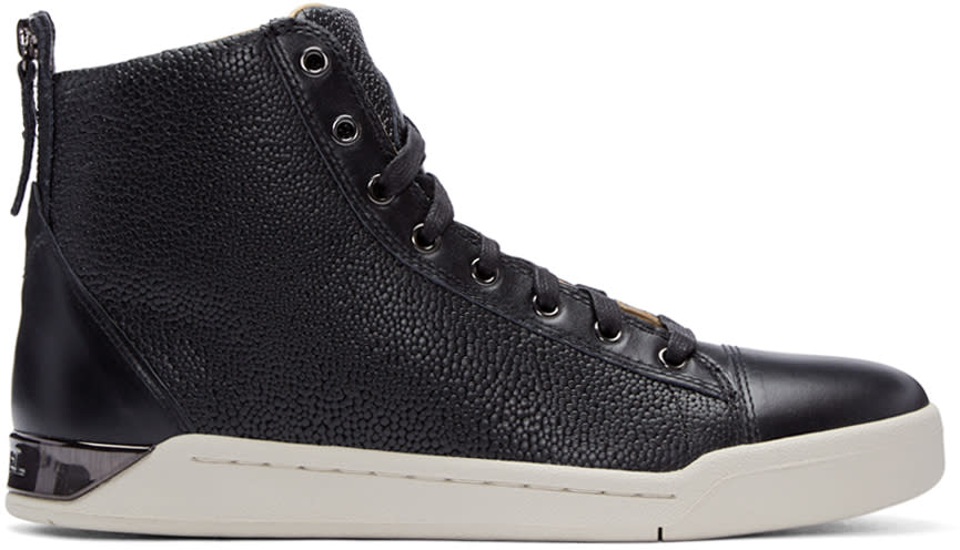 Diesel Black Pebbled Diamond High-top Sneakers