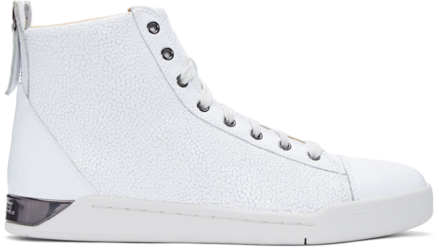 Diesel White Pebbled Diamond High-top Sneakers
