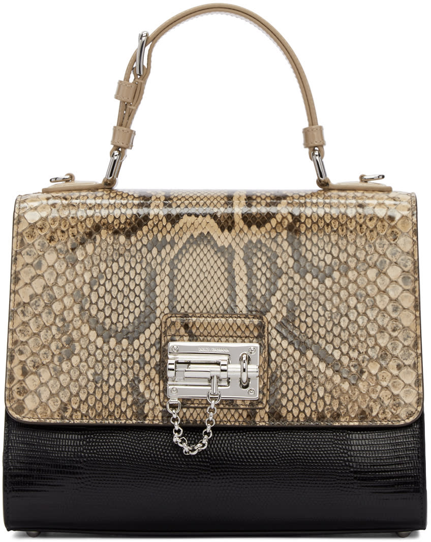 Dolce and Gabbana Black and Beige Python Monica Bag