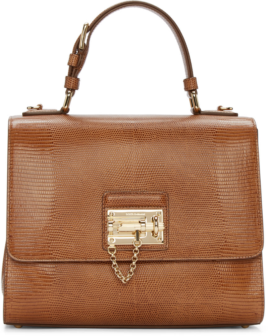 Dolce and Gabbana Tan Iguana-embossed Monica Bag