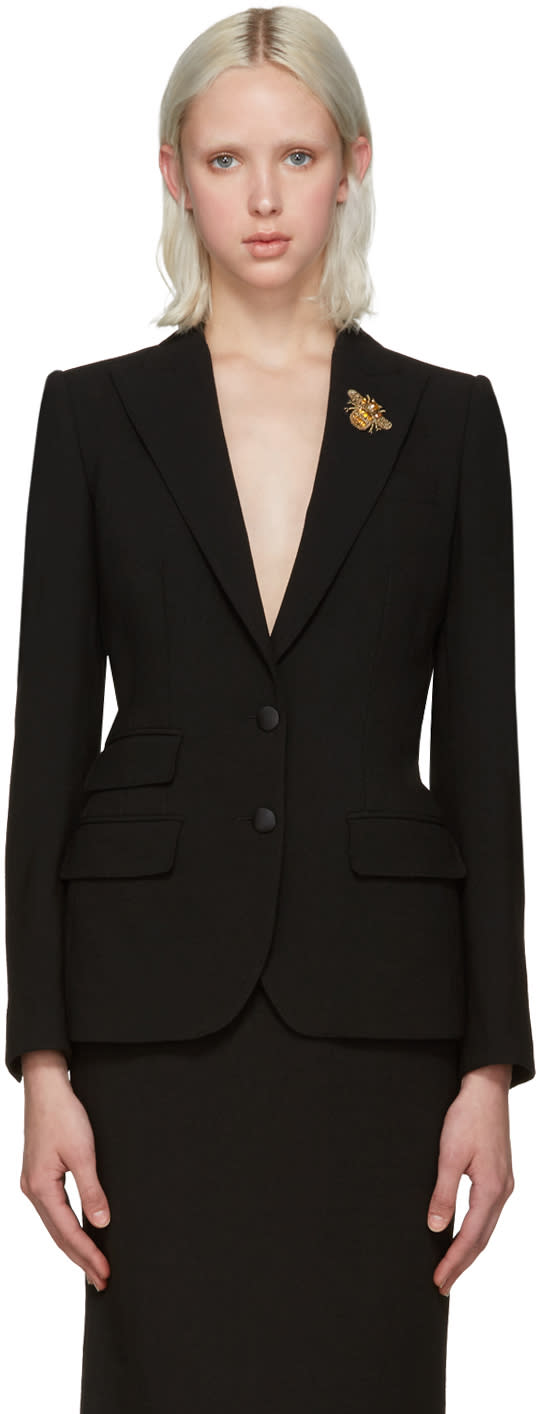 Dolce and Gabbana Black Crepe Wool Bee Blazer