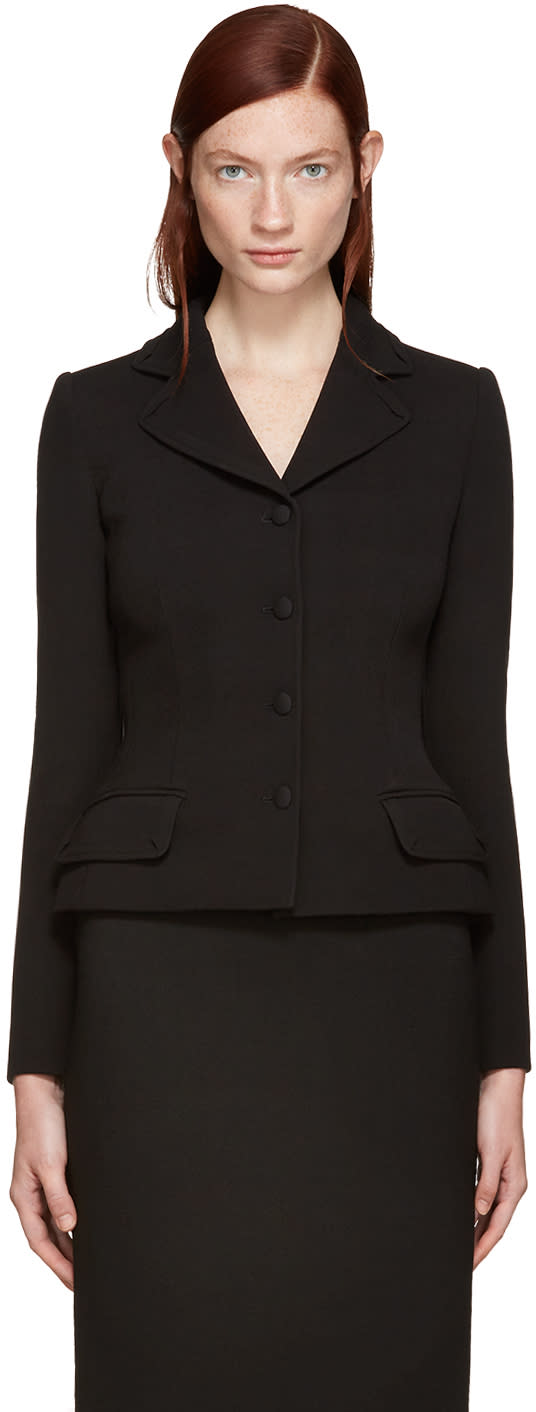 Dolce and Gabbana Black Fitted Wool Blazer