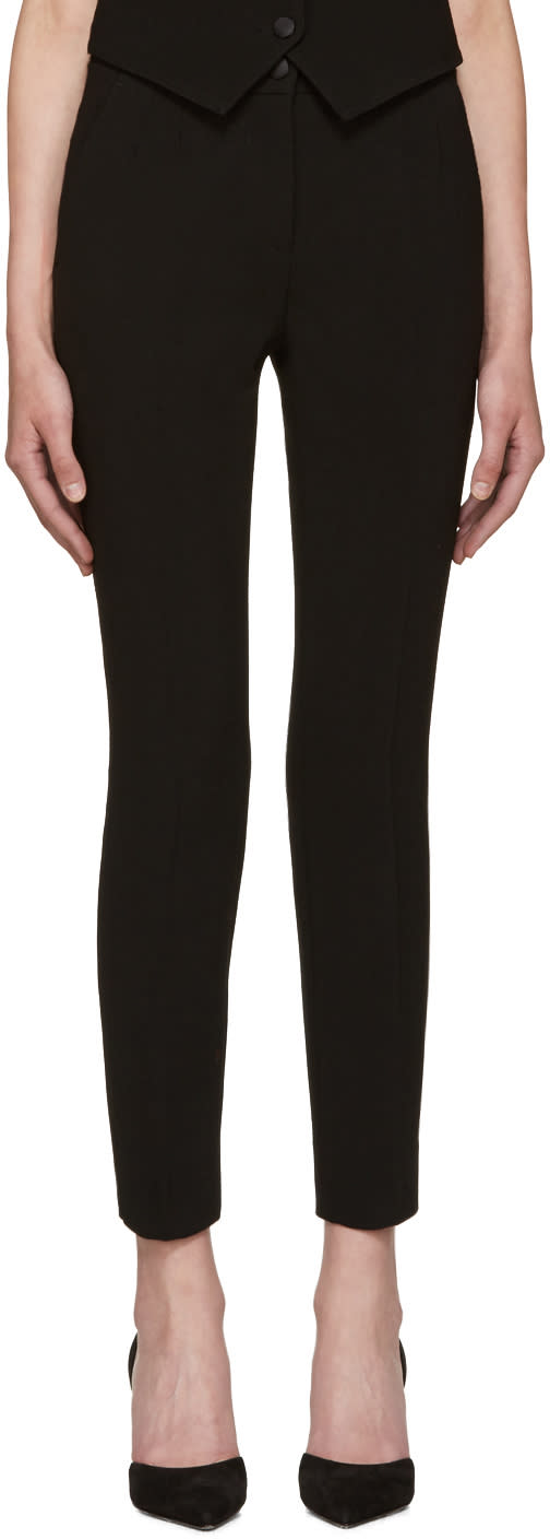 Dolce and Gabbana Black Wool Crepe Trousers