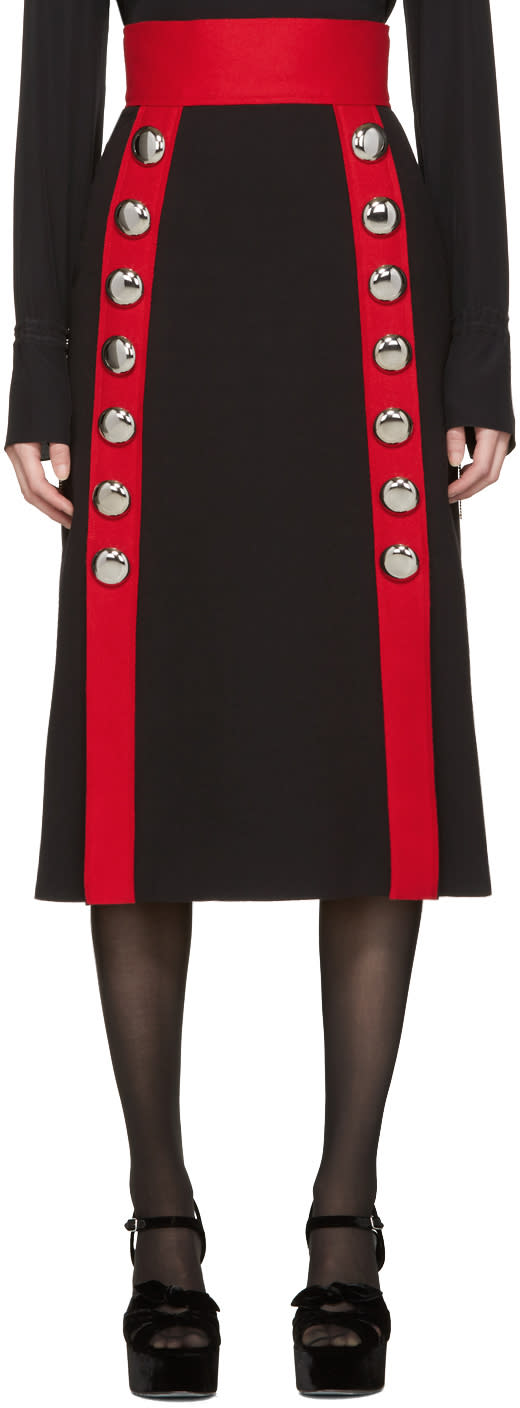 Dolce and Gabbana Black Wool Buttons Skirt