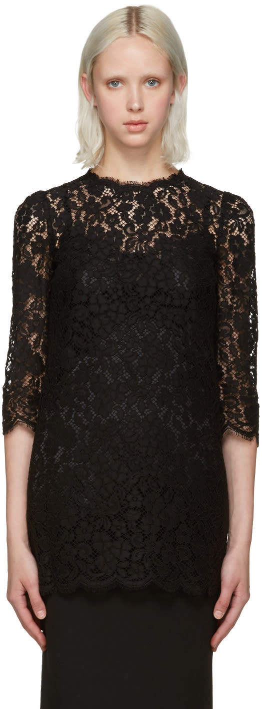Dolce and Gabbana Black Lace Blouse