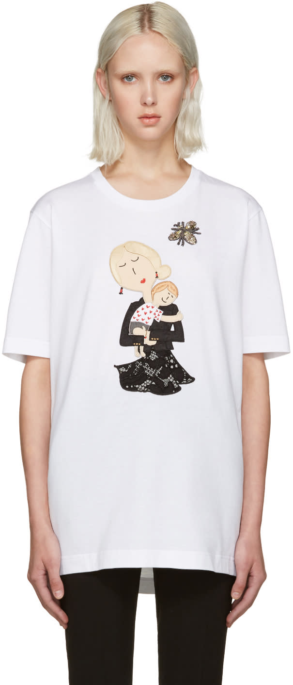 Dolce and Gabbana White Embroidered T-shirt