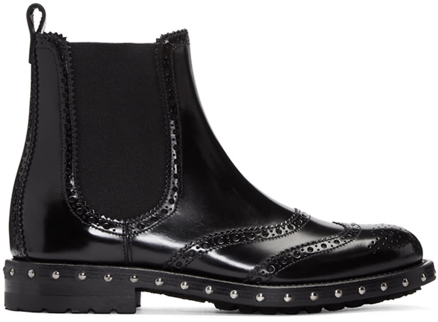 Dolce and Gabbana Black Brogue Boots