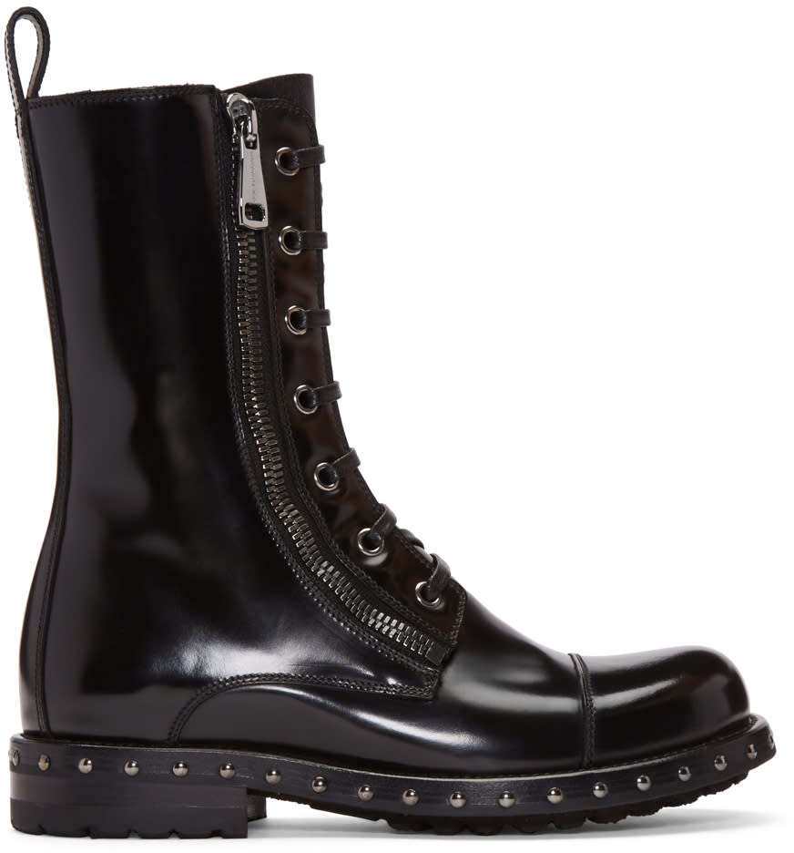 Dolce and Gabbana Black Patent Leather Combat Boots