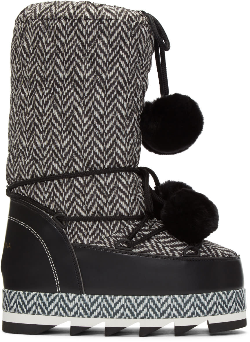 Dolce and Gabbana Black and White Fur Pom Pom Moon Boots