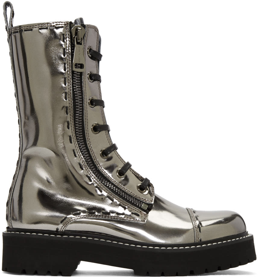 Dolce and Gabbana Silver Leather Combat Boots