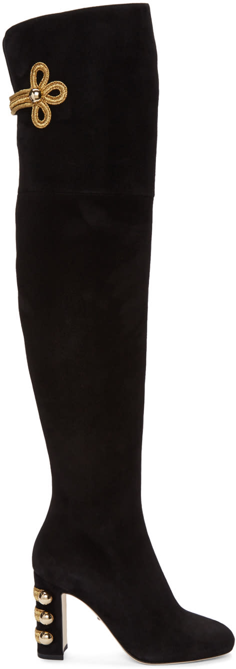 Dolce and Gabbana Black Suede Over-the-knee Boots