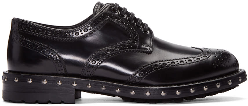 Dolce and Gabbana Black Studded Derbys