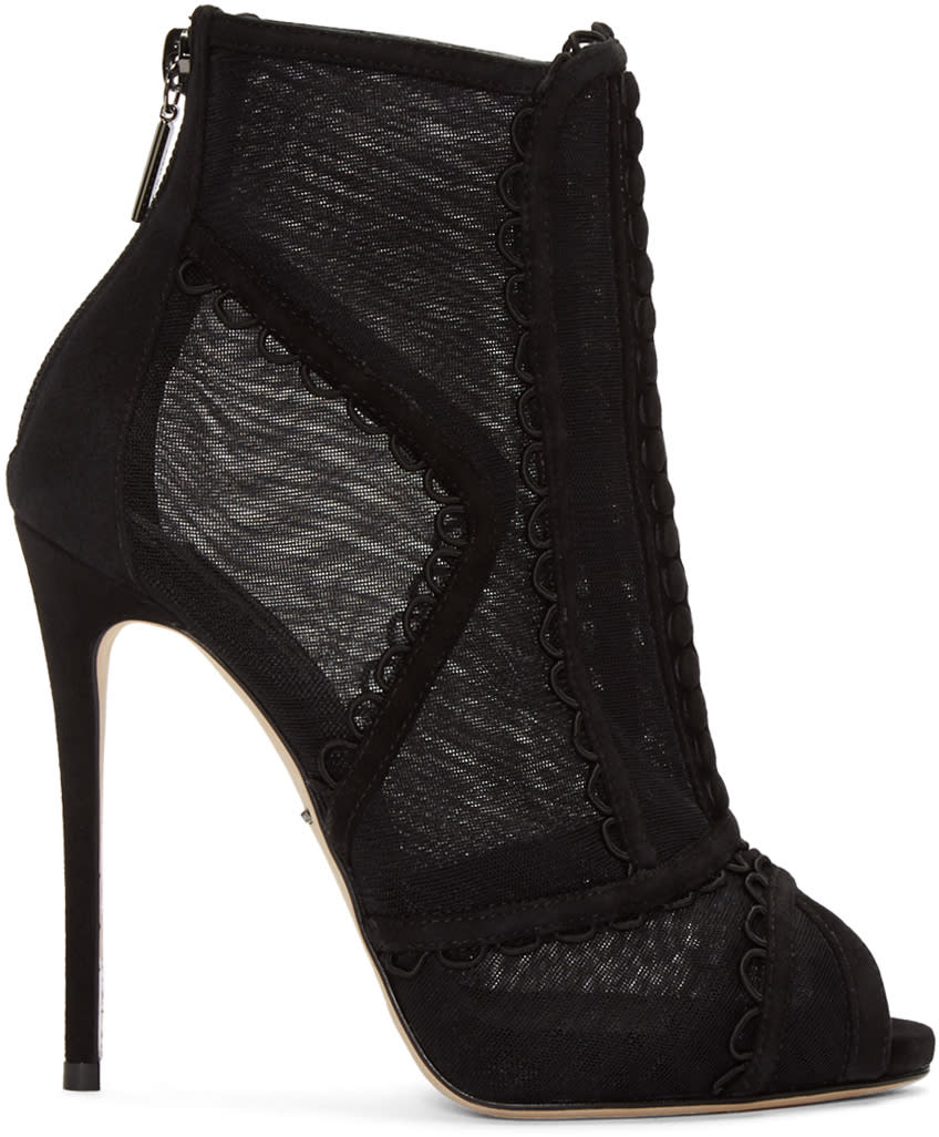 Dolce and Gabbana Black Mesh Boots