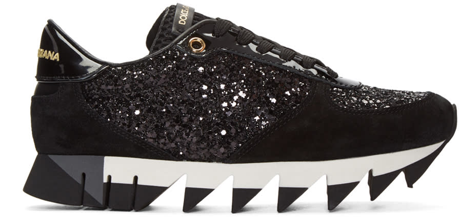Dolce and Gabbana Black Suede and Glitter Sneakers
